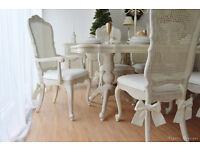 *** UNIQUE & BEAUTIFUL *** French Antique Shabby Chic Dining Table with Eight Chairs !!!