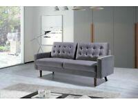 🔵💖🔴DESIGNER FURNITURE🔵💖🔴Mazz 2 Seater And 3 Seater Sofa Plush Velvet In Grey And Cream Color