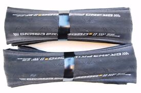 A pair of Continental GP4000s2 TOP RANGE Road Racing Bike clincher tyres 700c 25mm