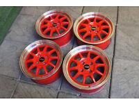 "Genuine JBW GT3 15"" Alloy wheels 4x100 Mx5 Eunos Civic Starlet Yaris Polo Golf Clio Corsa Alloys JDM"