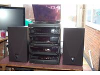 Kenwood All Black 3 Section Seperates With Speakers, Model RX49
