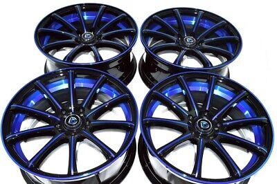 "4 New DDR Elite 18x8 5x114.3 38mm Black/Polished Blue/Undercut 18"" Wheels Rims"