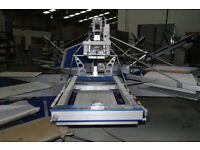 MHM Synchroprint 3000 SP8 automatic screen printing machine 5 colour 8 Station