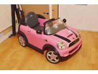 Pink Mini Cooper S Electric Ride on Car