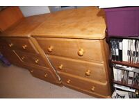 Two Three Drawer Solid Pine Chests of Drawers