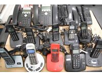 Job lot of 4 desktop Phones and 10 assorted cordless phones. Used but in good working order.