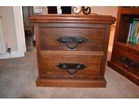 2 Drawer Storage Unit - Solid Dark Wood