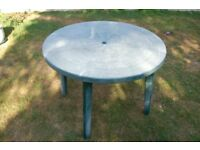 FREE Green Plastic Circular Table 39 inches Across, Well Used But Perfectly Serviceable.