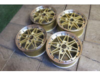 "15"" Equip Style Alloy wheels 4x100 Mx5 Eunos Civic Yaris Starlet Golf Polo Scirocco Jdm Gold Alloys"