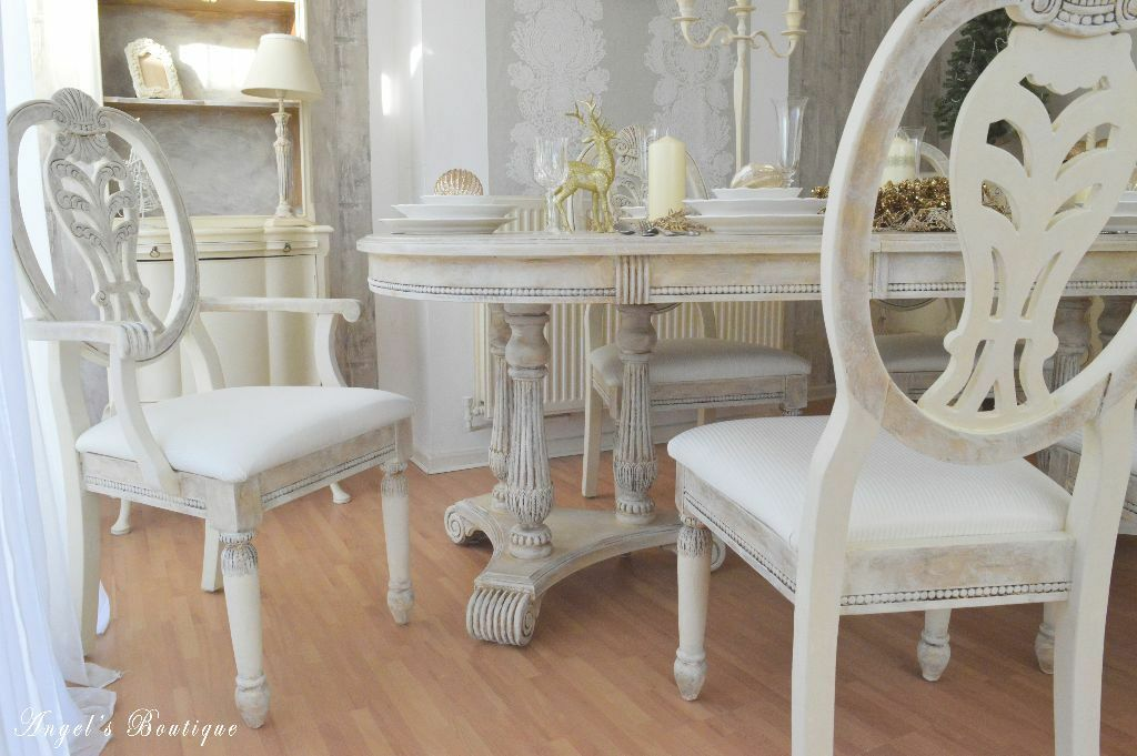 unique french provence shabby chic dining table with six chairs perfect for easter. Black Bedroom Furniture Sets. Home Design Ideas