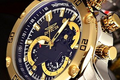 Invicta Pro Diver Scuba 3 0 Chrono Tachymeter Black Dial 2 Tone Bracelet Watch