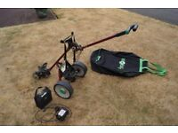 For Sale HillBilly Electric Golf Trolley (Red) + battery, charger & Travel Bag