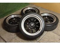 "Genuine ROTA GT3 16"" Alloy wheels & Tyres 4x100 Civic EK EG Starlet Yaris Clio Corsa Mx5 JDM Alloys"