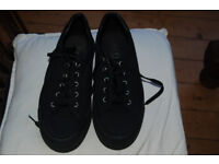 Office black canvas shoes size 39 worn once.