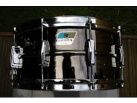 """Ludwig 417 seamless Black Beauty snare drum 14 x 6 1/2"""" - Blue/Olive, Chicago - '77-'79"""