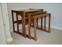 Nest of Vintage Retro Teak G Plan Style Tables with cork effect top (3 tables)