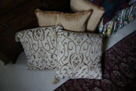 Pair of 18 Inch Square Off White/Gold Large Cushions