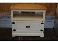 Wooden TV Television Stand Corona Corner Unit Cabinet - white