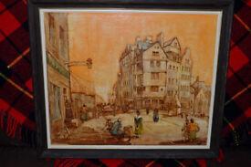 OLD EDINBURGH BOWHEAD HOUSE LAWNMARKET ORIGINAL OIL PAINTING