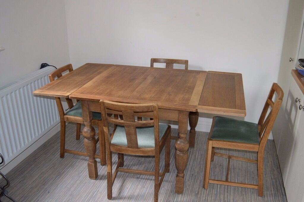 Vintage 1940s 1950s Extending Oak Table And 4 Chairs In