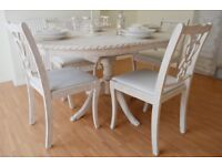 *** GREAL DEAL *** UNIQUE & BEAUTIFUL !!! SHABBY CHIC ANTIQUE Dining Table & Four Chairs !!!