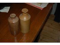 Vintage stoneware ink bottle, Bourne Derby, Swan ink bottle and Parker Quink