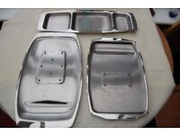4 Stainless Carving Trays, 3-Section Hor D'Oeuvre Dish, & 3 Sauce/Gravy Boats, & Cake Slice, All VGC