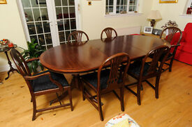 Regency style dining table and antique Edwardian chairs