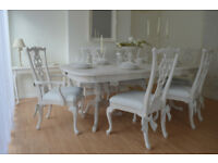 !!! WOW !!! BEAUTIFUL ** French Antique ** Shabby Chic Dining Table & 6 Chairs with Decorative Bows