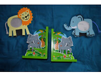 Jungle Animal Themed Nursery Items - Bookends & Picture Frames