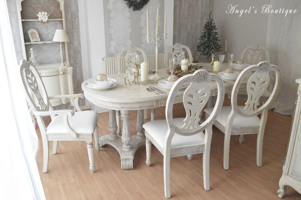 unique shabby chic provence dining table six chairs in epsom surrey gumtree. Black Bedroom Furniture Sets. Home Design Ideas