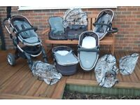 iCandy Peach Blossom Pushchair Travel System with extras inc car seat, isofix, footmuffs, bag etc