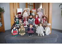 PORCELAIN DOLLS ,, COLLECTION OF 14, AS NEW, SOME BOXED
