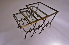 Rene Drouet nesting tables, iron & bronze, 1950`s ca, French