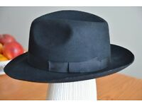 Christys Black Fedora Trilby Hat