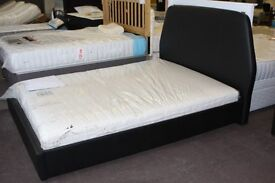 NEW UNUSED. 5ft King size Black leather bed frame bedstead. Showroom display, as new