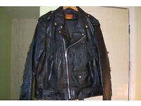 Fringed leather motorcycle jacket