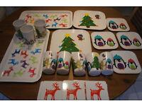 24 piece christmas plates, cups, platters, coasters set, melamine. Xmas trees, penguins, reindeers