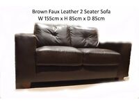Brown Faux Leather 2 Seater Sofa *AS NEW!!*