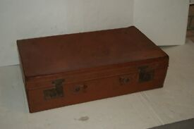 old vintage brown leather suitcase