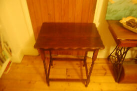 Small wooden table with barley twist legs
