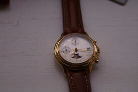 Alfex manual wind mechanical chronograph wristwatch- Swiss - NOS - '90s Moonphase