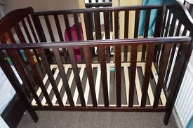 Mothercare Dark Wood Cot Bed + Baby Bedding Set