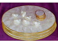 Mother of Pearl set of Six gold edged table mats with coasters and napkin rings