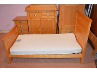 Solid pine NEXT nursery furniture set - Cotbed, changing unit, wardrobe, bedside drawer unit & shelf