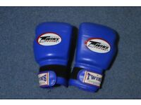 Blue Thai Boxing gloves made by twins