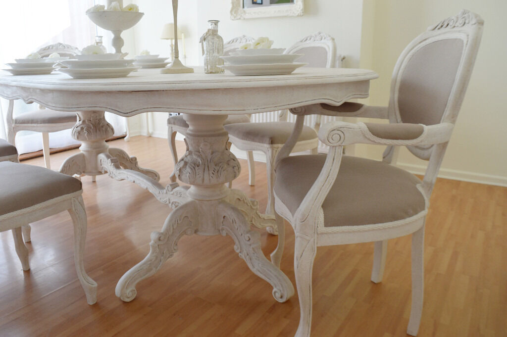 Shabby Chic Breakfast Table: SUMMER DEAL !!! *** Antique Shabby Chic Dining Table & Six