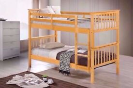💖💥💖WHITE OR OAK WOODEN BUNK BED💖💥💖SINGLE TOP SINGLE BOTTOM WOODEN BED AND MATTRESSES