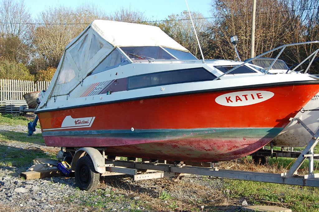 "Shetland kestrel 19"" cabin boat with 90hp yamaha tilt/trim and Galvanized trailer"