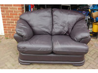 2 seater leather sofa aubergine